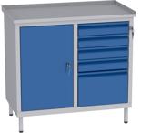 00150658 Szafka warsztatowa, 1 drzwi, 5 szuflad (wymiary: 850x900x505 mm)