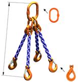 33948237 Zawiesie łańcuchowe czterocięgnowe klasy 10 miproSling LCS 21,2/15,0 (długość łańcucha: 1m, udźwig: 15-21,2 T, średnica łańcucha: 16 mm, wymiary ogniwa: 260x140 mm)
