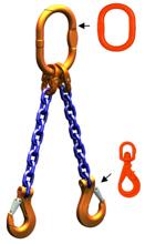 33948261 Zawiesie łańcuchowe dwucięgnowe klasy 10 miproSling WLHW 5,6/4,0 (długość łańcucha: 1m, udźwig: 4-5,6 T, średnica łańcucha: 10 mm, wymiary ogniwa: 160x90 mm)