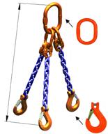 33948267 Zawiesie łańcuchowe trzycięgnowe klasy 10 miproSling KHSW 30,0/21,2 (długość łańcucha: 1m, udźwig: 21,2-30 T, średnica łańcucha: 19 mm, wymiary ogniwa: 350x190 mm)