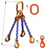 33948309 Zawiesie łańcuchowe czterocięgnowe klasy 10 miproSling WLHW 4,0/2,8 (długość łańcucha: 1m, udźwig: 2,8-4 T, średnica łańcucha: 7 mm, wymiary ogniwa: 160x90 mm)