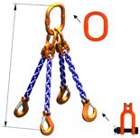 33948316 Zawiesie łańcuchowe czterocięgnowe klasy 10 miproSling KSCHW 8,0/6,0 (długość łańcucha: 1m, udźwig: 6-8 T, średnica łańcucha: 10 mm, wymiary ogniwa: 180x100 mm)