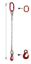 33948338 Zawiesie linowe jednocięgnowe miproSling HE 21,00 (długość liny: 1m, udźwig: 21 T, średnica liny: 44 mm, wymiary ogniwa: 275x150 mm)