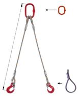 33948393 Zawiesie linowe dwucięgnowe miproSling F 19,0/14,0 (długość liny: 1m, udźwig: 14-19 T, średnica liny: 36 mm, wymiary ogniwa: 275x150 mm)