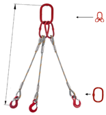 33948438 Zawiesie linowe trzycięgnowe miproSling T 29,0/21,0 (długość liny: 1m, udźwig: 21-29 T, średnica liny: 36 mm, wymiary ogniwa: 340x180 mm)