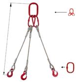 33948440 Zawiesie linowe trzycięgnowe miproSling T 44,0/31,5 (długość liny: 1m, udźwig: 31,5-44 T, średnica liny: 44 mm, wymiary ogniwa: 350x190 mm)