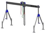 33960007 Wciągarka bramowa aluminiowa z wózkiem pchanym i wciągnikiem łańcuchowym miproCrane DELTA 400S (udźwig: 1500 kg, szerokość: 4100 mm, wysokość: 2120/3370 mm)