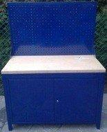 77156935 Stół warsztatowy z tablicą perforowaną, 2 szafki (wymiary: 1200x600x750 mm)