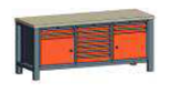 99551563 Stół trójka, stelaż z blatem, 2 drzwi, 11 szuflad (wymiary: 850-900x2000x700 mm)