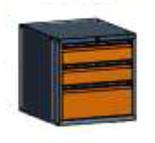 99551573 Szafka typ E, 3 szuflady 250+150+150 (wymiary: 625x600x690 mm)