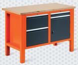 99551608 Stół warsztatowy, 4 szuflady, 1 drzwi (wymiary: 850-900x1245x620 mm)