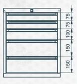 99551635 Szafka typ L, 5 szuflad (wymiary: 625x520x550 mm)