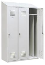 99552200 Szafka ubraniowa 0,8mm ze skośnym daszkiem, zamek na kłódkę, 3 drzwi (wymiary: 2000x1200x490 mm)