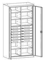 99552490 Szafa warsztatowa, 8 półek, 12 szuflad (wymiary: 1950x1000x500 mm)