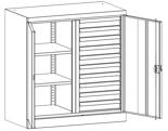 99552522 Szafa warsztatowa, 2 półki, 10 szuflad, 2 drzwi (wymiary: 1000x950x500 mm)