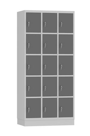 00141893 Szafa skrytkowa, 3 segmenty, 15 skrytek (wymiary: 1950x900x480 mm)