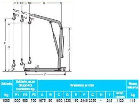 0301649 Żurawik warsztatowy przewoźny (udźwig: 1000 kg)