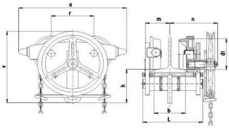 DOSTAWA GRATIS! 22039013 Wózek jedno-belkowy z napędem ręcznym Z420-A/7.5t/4m (wysokość podnoszenia: 4m, szerokość dwuteownika od: 125-185mm, udźwig: 7,5 T)