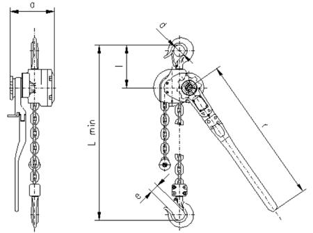 DOSTAWA GRATIS! 2209145 Wciągnik dźwigniowy, rukcug z łańcuchem ogniwowym RZC/5.0t (wysokość podnoszenia: 6,5m, udźwig: 5 T)