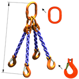 33948291 Zawiesie łańcuchowe czterocięgnowe klasy 10 miproSling KHSW 21,2/15,0 (długość łańcucha: 1m, udźwig: 15-21,2 T, średnica łańcucha: 16 mm, wymiary ogniwa: 260x140 mm)