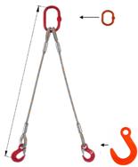 33948375 Zawiesie linowe dwucięgnowe miproSling FW 11,8/8,4 (długość liny: 1m, udźwig: 8,4-11,8 T, średnica liny: 28 mm, wymiary ogniwa: 230x130 mm)