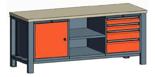 99551566 Stół trójka, stelaż z blatem, 1 drzwi, 2 wstawki głębokie, 4 szuflady (wymiary: 850-900x2000x700 mm)