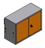 99551593 Szafka wisząca szeroka, 2 drzwi (wymiary: 418x686x250 mm)