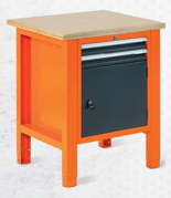 99551598 Stół warsztatowy, 2 szuflady, 1 drzwi (wymiary: 850-900x725x620 mm)
