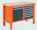 99551607 Stół warsztatowy, 9 szuflad, 1 drzwi (wymiary: 850-900x1245x620 mm)