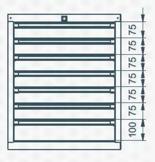 99551638 Szafka typ P, 7 szuflad (wymiary: 625x520x550 mm)