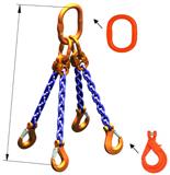 DOSTAWA GRATIS! 33948302 Zawiesie łańcuchowe czterocięgnowe klasy 10 miproSling KLHW 40,0/28,0 (długość łańcucha: 1m, udźwig: 28-40 T, średnica łańcucha: 22 mm, wymiary ogniwa: 350x190 mm)