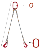 DOSTAWA GRATIS! 33948387 Zawiesie linowe dwucięgnowe miproSling T 19,0/14,0 (długość liny: 1m, udźwig: 14-19 T, średnica liny: 36 mm, wymiary ogniwa: 275x150 mm)