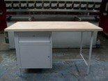 DOSTAWA GRATIS! 77156850 Stół warsztatowy dwustanowiskowy, 1 szafka, 1 szuflada (wymiary: 2000x750x900 mm)
