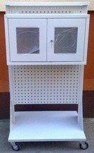 DOSTAWA GRATIS! 77157364 Wózek narzędziowy z tablicami perforowanymi i szafką (wymiary: 1500x800x600 mm)