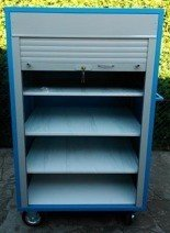 DOSTAWA GRATIS! 77157365 Wózek narzędziowy z żaluzją, 4 półki regulowane (wymiary: 1600x100x600 mm)