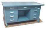 DOSTAWA GRATIS! 91073682 Stół roboczy do pakowania na kółkach - nakładka blacha ocynkowana (blat: 150x78 cm, wys: 78 cm)
