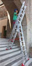 DOSTAWA GRATIS! 99674976 Drabina aluminiowa 3x14 FARAONE z adaptacją na schody (wysokość robocza: 11,08m)