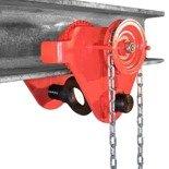 LIFERAIDA Wózek ręczny jezdny z łańcuszkiem i napędem (udźwig: 3,0 T, szerokość belki jezdnej: 74-200 mm, wysokość łańcucha manewrowego: 3m) 0301437