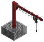Żuraw słupowy obrotowy z wciągnikiem łańcuchowy elektrycznym na wózku elektrycznym (udźwig: 1000 kg, długość ramienia: 4000mm, wysokość do belki: 4000mm) 03076002