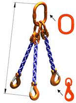 33948286 Zawiesie łańcuchowe trzycięgnowe klasy 10 miproSling WLHW 14,0/10,0 (długość łańcucha: 1m, udźwig: 10-14 T, średnica łańcucha: 13 mm, wymiary ogniwa: 200x110 mm)