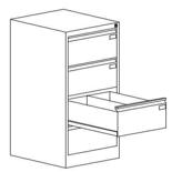 99551762 Szafka kartotekowa 1,0mm, 4 szuflady (wymiary: 1060x545x630 mm)