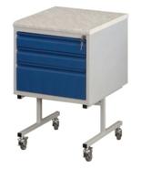 99552573 Szafka laboratoryjna na kółkach, blat z durconu, 3 szuflady (wymiary: 810x500x540 mm)