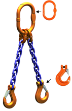 DOSTAWA GRATIS! 33948217 Zawiesie łańcuchowe dwucięgnowe klasy 10 miproSling HCS 26,5/19,0 (długość łańcucha: 1m, udźwig: 19-26,5 T, średnica łańcucha: 22 mm, wymiary ogniwa: 340x180 mm)