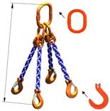 DOSTAWA GRATIS! 33948304 Zawiesie łańcuchowe czterocięgnowe klasy 10 miproSling KFW 14,0/10,0 (długość łańcucha: 1m, udźwig: 10-14 T, średnica łańcucha: 13 mm, wymiary ogniwa: 200x110 mm)
