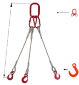 DOSTAWA GRATIS! 33948428 Zawiesie linowe trzycięgnowe miproSling FW 52,0/37,0 (długość liny: 1m, udźwig: 37-52 T, średnica liny: 48 mm, wymiary ogniwa: 400x200 mm)