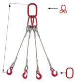 DOSTAWA GRATIS! 33948500 Zawiesie linowe czterocięgnowe miproSling T 52,0/37,0 (długość liny: 1m, udźwig: 37-52 T, średnica liny: 48 mm, wymiary ogniwa: 400x200 mm)