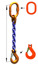 DOSTAWA GRATIS! 33971825 Zawiesie łańcuchowe jednocięgnowe klasy 10 miproSling KHSW 40 (długość łańcucha: 1m, udźwig: 40 T, średnica łańcucha: 32 mm, wymiary ogniwa: 350x190 mm)