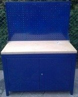 DOSTAWA GRATIS! 77156935 Stół warsztatowy z tablicą perforowaną, 2 szafki (wymiary: 1200x600x750 mm)