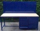 DOSTAWA GRATIS! 77156964 Stół warsztatowy z nadbudową perforową, 4 szuflady, 1 szafka (wymiary: 2000x600x900 mm)