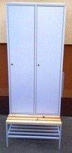 DOSTAWA GRATIS! 77157030 Szafa odzieżowa z przegrodami i ławką, 2 drzwi (wymiary: 2000/1900x800x480 mm)